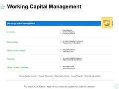 Working Capital Management Ppt PowerPoint Presentation Infographic Template Styles