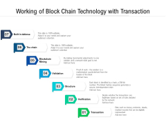 Working Of Block Chain Technology With Transaction Ppt PowerPoint Presentation File Samples PDF