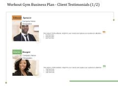 Workout Gym Business Plan Client Testimonials Communication Ppt Outline Master Slide PDF