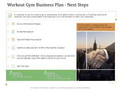 Workout Gym Business Plan Next Steps Ppt Icon Portrait PDF