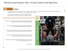 Workout Gym Business Plan Project Context And Objectives Ppt Professional Display PDF