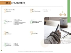 Workout Gym Business Plan Table Of Contents Ppt Slides Microsoft PDF