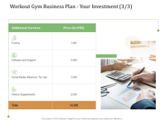 Workout Gym Business Plan Your Investment Tie Ppt Ideas Outline PDF