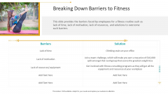 Workplace Wellness Breaking Down Barriers To Fitness Clipart PDF