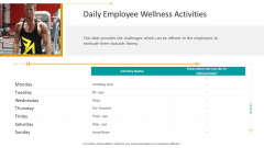 Workplace Wellness Daily Employee Wellness Activities Background PDF