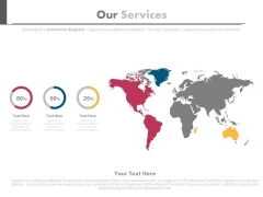 World Map Our Services Diagram Powerpoint Slides