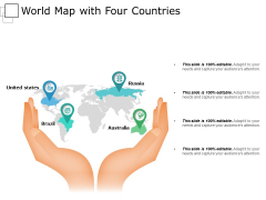 World Map With Four Countries Ppt PowerPoint Presentation Pictures Slides