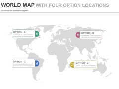 World Map With Four Option Tags Powerpoint Slides