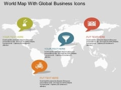 World Map With Global Business Icons Powerpoint Template