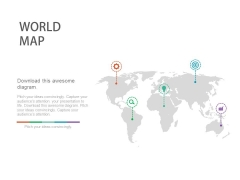 World Map With Icons For Global Business Powerpoint Slides
