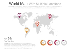World Map With Location Pointers And Icons Powerpoint Slides