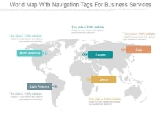 World Map With Navigation Tags For Business Services Ppt PowerPoint Presentation Slide Download