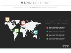 World Map With Popular Social Media Icons Powerpoint Slides