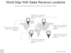 World Map With Sales Revenue Locations Ppt PowerPoint Presentation Designs Download