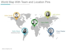 World Map With Team And Location Pins Ppt PowerPoint Presentation Shapes