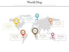 World Map With Text Tags And Percentage Pointers Powerpoint Slides