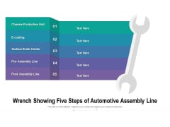 Wrench Showing Five Steps Of Automotive Assembly Line Ppt PowerPoint Presentation File Example Introduction PDF