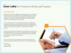 Writing A Bid Cover Letter For Freelancer Writing Job Proposal Ppt PowerPoint Presentation Layouts Example PDF
