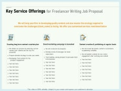 Writing A Bid Key Service Offerings For Freelancer Writing Job Proposal Ppt PowerPoint Presentation Summary Show PDF