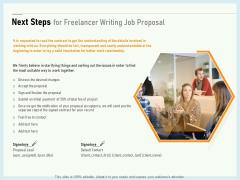 Writing A Bid Next Steps For Freelancer Writing Job Proposal Ppt PowerPoint Presentation Icon Topics PDF