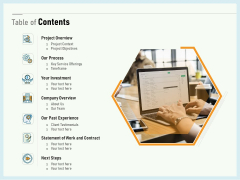 Writing A Bid Table Of Contents Ppt PowerPoint Presentation Gallery Portfolio PDF