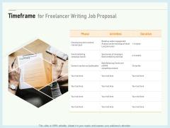 Writing A Bid Timeframe For Freelancer Writing Job Proposal Ppt PowerPoint Presentation File Inspiration PDF