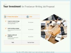 Writing A Bid Your Investment For Freelancer Writing Job Proposal Ppt PowerPoint Presentation Portfolio Samples PDF