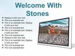 Welcome With Stones Beach PowerPoint Presentation Slides F