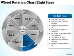 Wheel Rotation Chart Eight Steps Business Plans Examples PowerPoint Slides