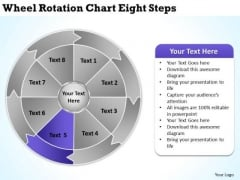 Wheel Rotation Chart Eight Steps Businessplan PowerPoint Templates