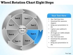 Wheel Rotation Chart Eight Steps Writting Business Plan PowerPoint Slides