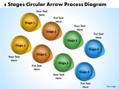 Windows Parallel Processing 8 Stages Circular Arrow Diagram PowerPoint Slides