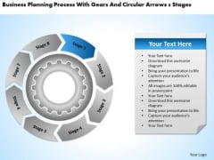 With Gears And Circular Arrows 8 Stages Examples Of Business Plan PowerPoint Templates