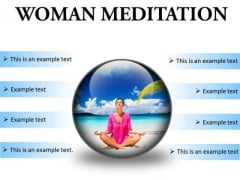 Woman Meditation Beach PowerPoint Presentation Slides C