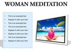 Woman Meditation Beach PowerPoint Presentation Slides F