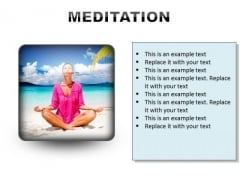 Woman Meditation Beach PowerPoint Presentation Slides S