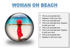 Woman On Beach Holidays PowerPoint Presentation Slides C