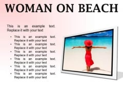 Woman On Beach Holidays PowerPoint Presentation Slides F