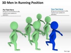Work Flow Business Process Diagram 3d Men Running Position PowerPoint Slides