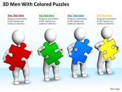 Work Flow Business Process Diagram 3d Men With Colored Puzzles PowerPoint Templates