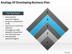 Work Flow Business Process Diagram Analogy Of Developing Plan PowerPoint Slides