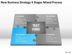 Work Flow Business Process Diagram Strategy 4 Stages Mixed PowerPoint Slides