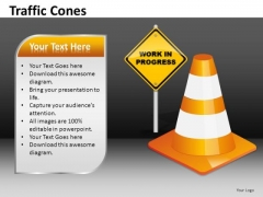 Work In Progress Traffic Cones PowerPoint Templates Ppt Slides