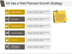 Xx Has A Well Planned Growth Strategy Ppt PowerPoint Presentation Example File