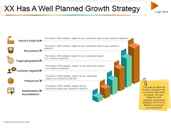Xx Has A Well Planned Growth Strategy Ppt PowerPoint Presentation File Display