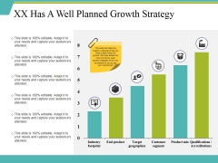 Xx Has A Well Planned Growth Strategy Ppt PowerPoint Presentation Layouts Layout
