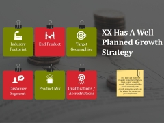 Xx Has A Well Planned Growth Strategy Ppt PowerPoint Presentation Styles Structure