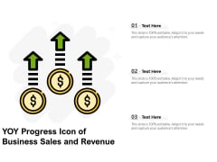 YOY Progress Icon Of Business Sales And Revenue Ppt PowerPoint Presentation File Pictures PDF