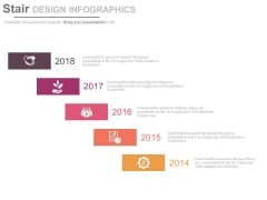 Year 2014 To 2018 Stair Design For Corporate Strategy Powerpoint Slides