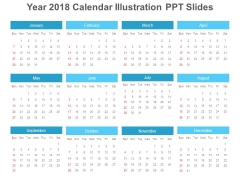 Year 2018 Calendar Illustration Ppt Slides